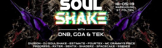 Soulshake w/ DNB, GOA & TEK am 18.05.2019 @ Warehouse