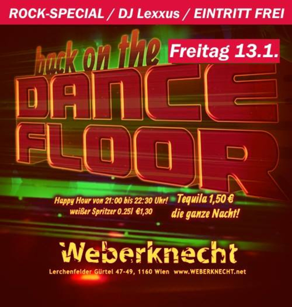 Back on the Dancefloor / Rock-Special am 13.01.2017 @ Weberknecht