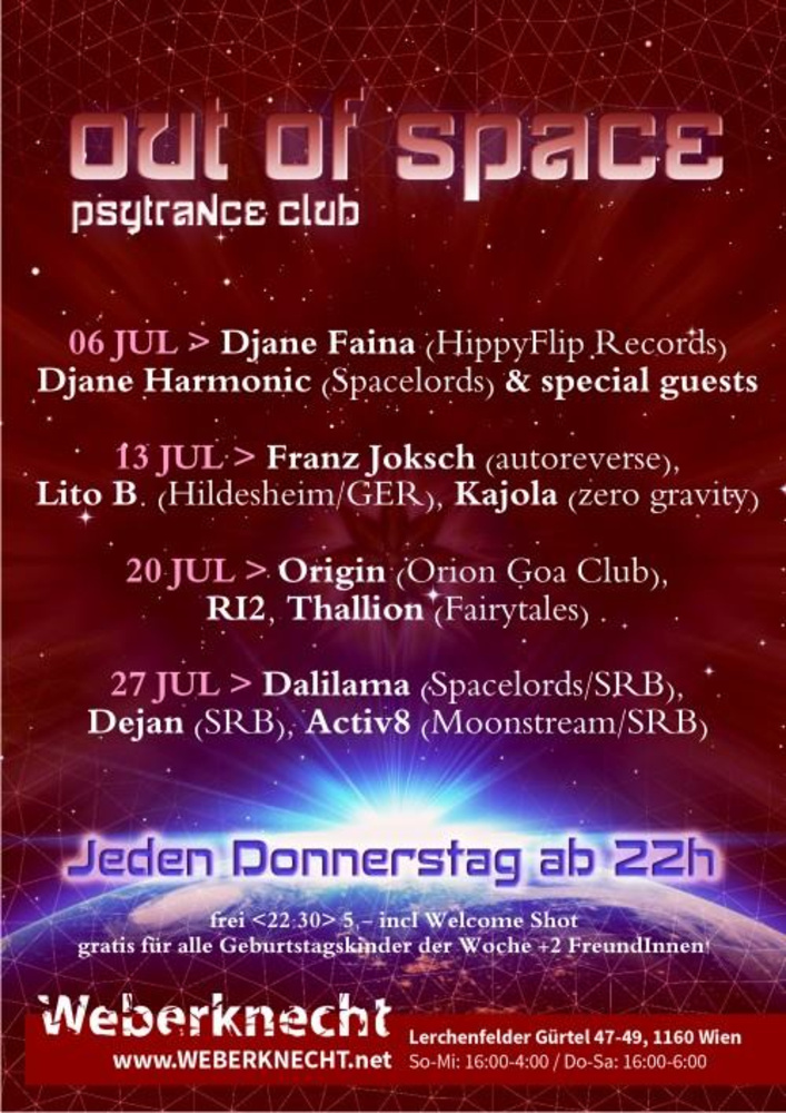 Out Of Space Psytrance Club  am 20.07.2017 @ Weberknecht