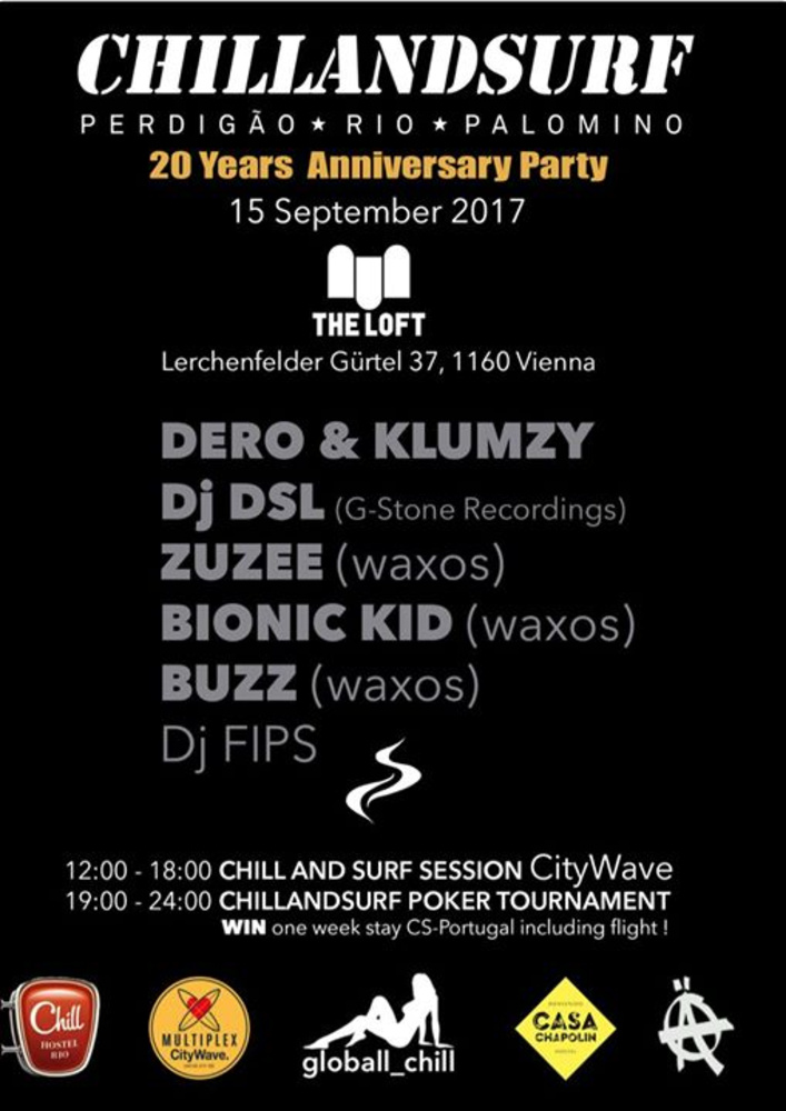 20 YEARS Chillandsurf PARTY am 15.09.2017 @ The Loft