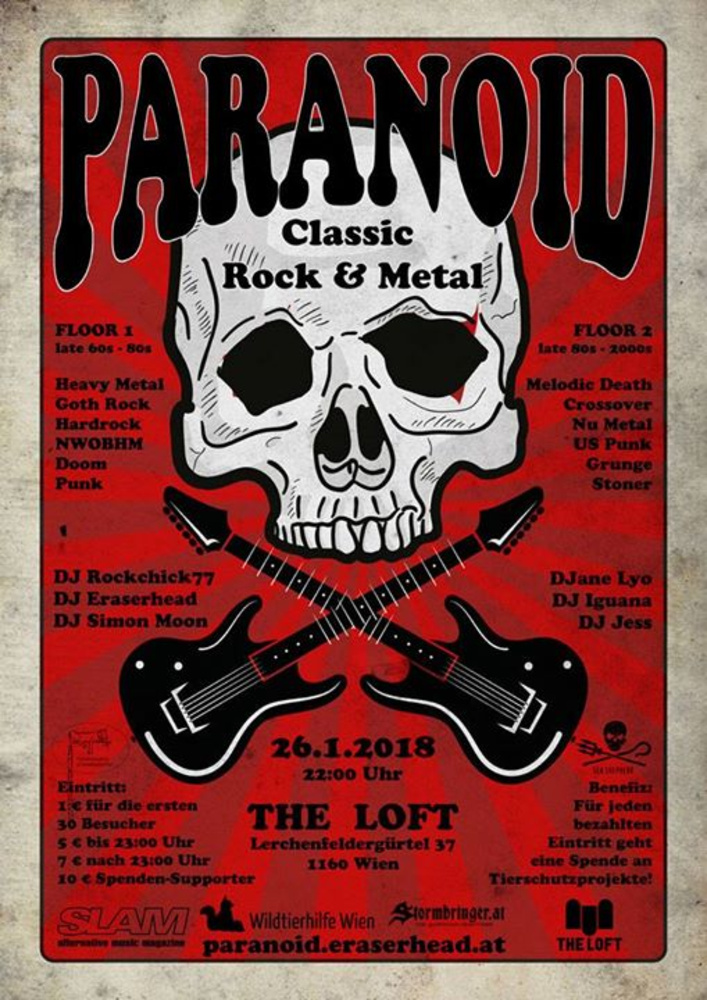 Paranoid - Viennas biggest Rock & Metal Party on 2 Floors am 26.01.2018 @ The Loft
