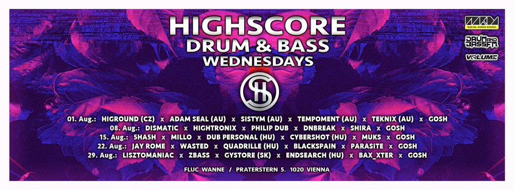 Highscore Friday w/ QO (Eatbrain) am 10.08.2018 @ Fluc Wanne